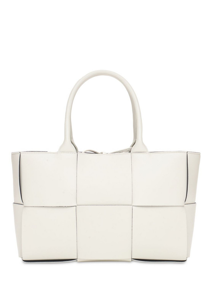 BOTTEGA VENETA Arco Intreccio Nappa Leather Tote Bag in white