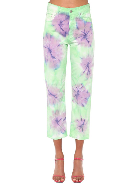 MSGM Bleached Cotton Denim Jeans in mint / lilac