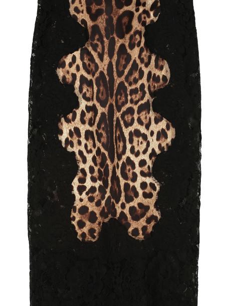 Dolce & Gabbana Leopard Print Satin And Lace Pencil Skirt