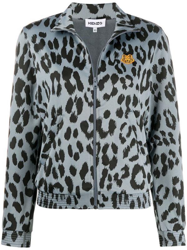Kenzo leopard print bomber jacket in blue