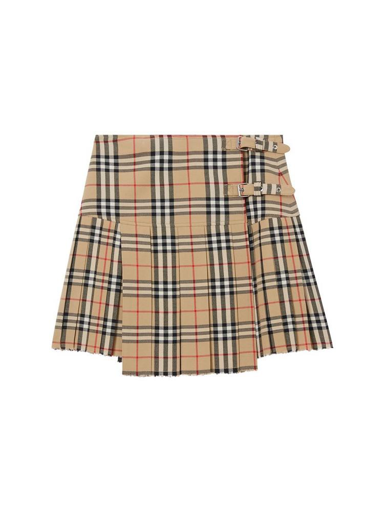 BURBERRY Zoe Wool Printed Check Mini Kilt Skirt