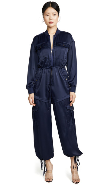 KENDALL + KYLIE KENDALL + KYLIE Satin Convertible Cargo Jumpsuit in navy