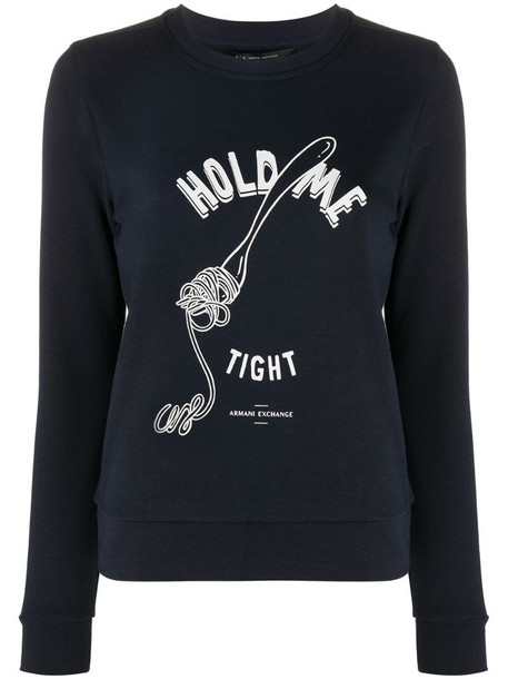 Armani Exchange Hold Me Tight print sweatshirt in blue
