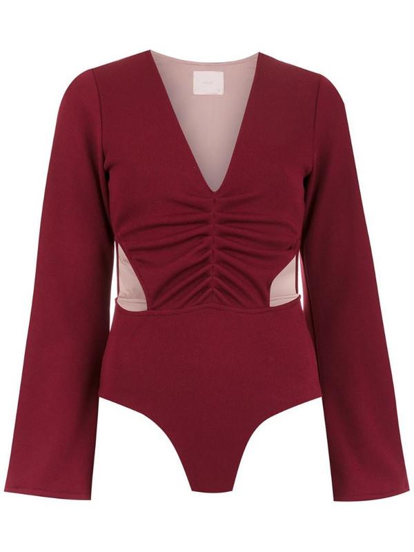 Framed cut out Malibu bodysuit in red