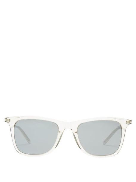 Saint Laurent - D Frame Acetate And Metal Sunglasses - Womens - Clear