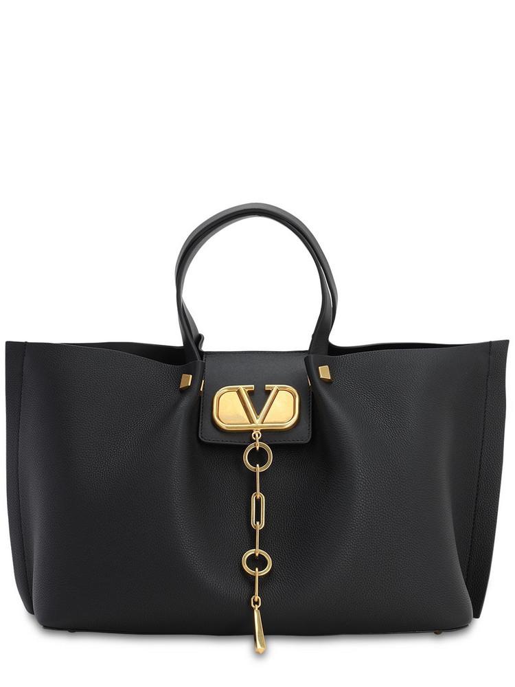 VALENTINO Md Vlogo Escape Grained Leather Tote Bag in black