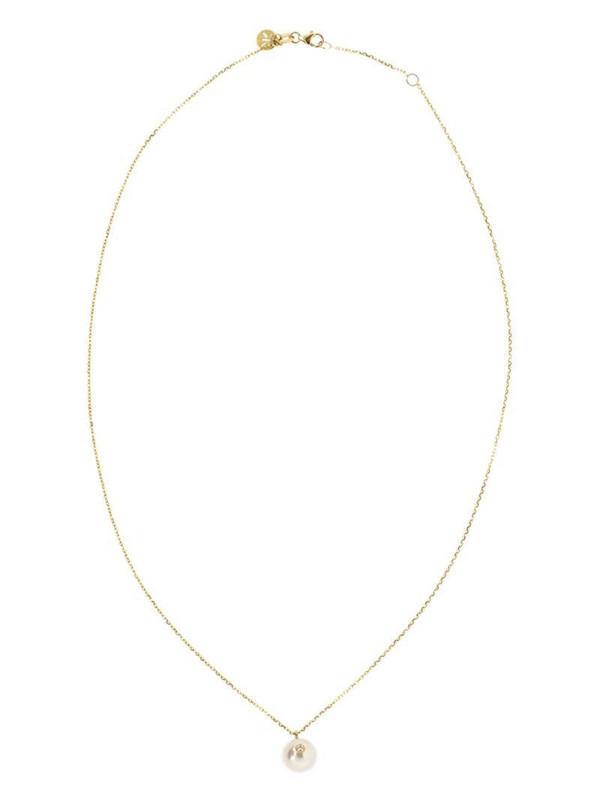 Kat Kim 18kt yellow gold Oasis diamond pearl pendant necklace in white