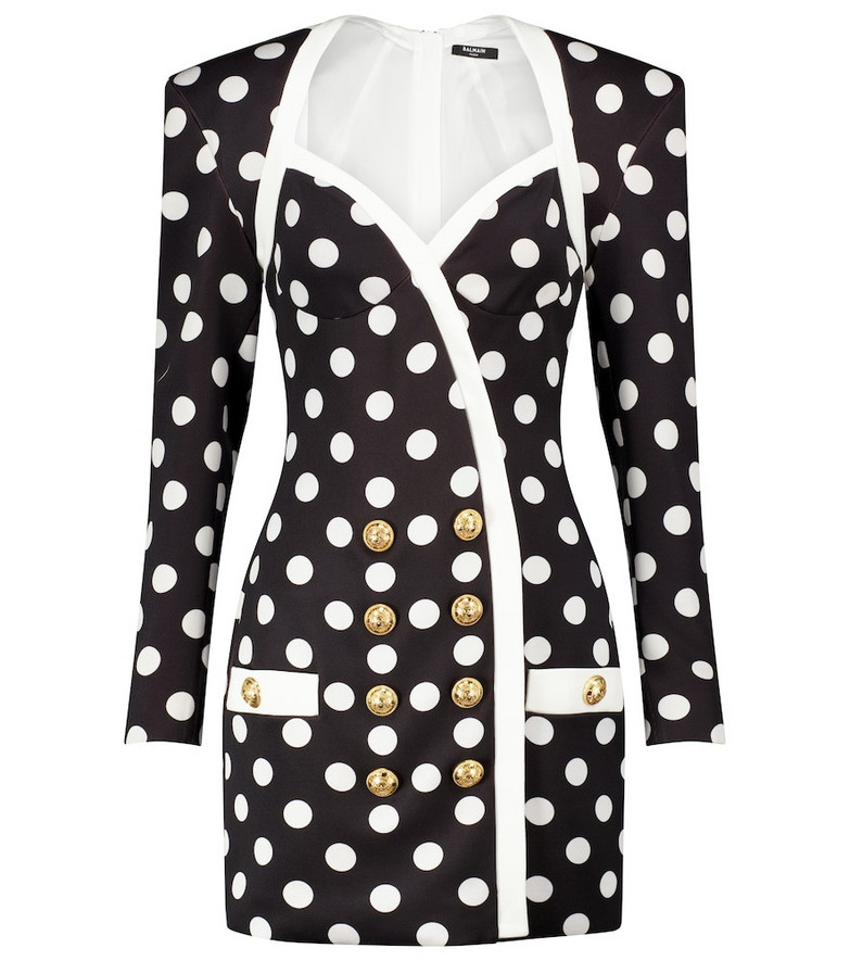 Balmain Polka-dot crêpe blazer minidress in black