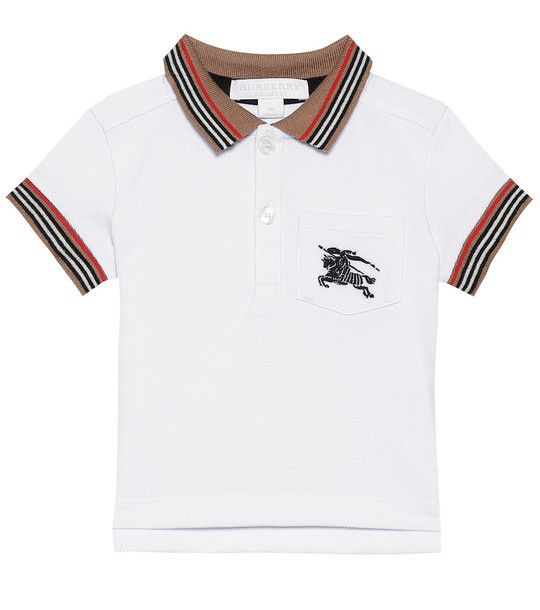 Burberry Kids Baby embroidered cotton polo shirt in white