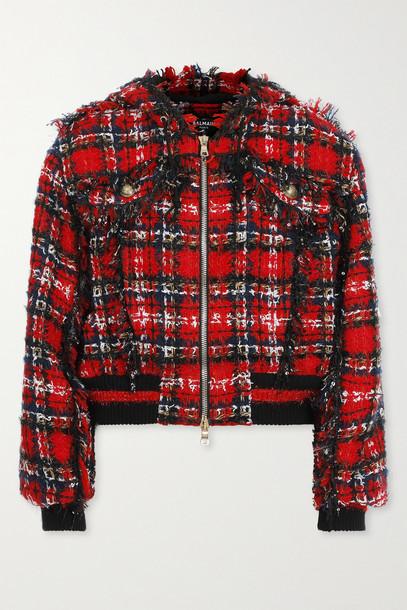 BALMAIN - Hooded Checked Tweed Bomber Jacket - Red