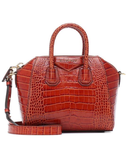 Givenchy Antigona Mini croc-effect leather tote in brown