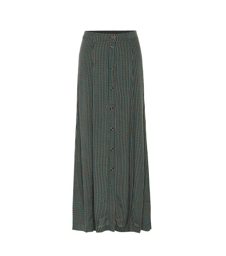 Ganni Checked maxi skirt in green