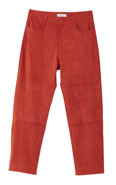 Rodebjer Eszti Cropped Suede-Effect Straight-Leg Pants in red