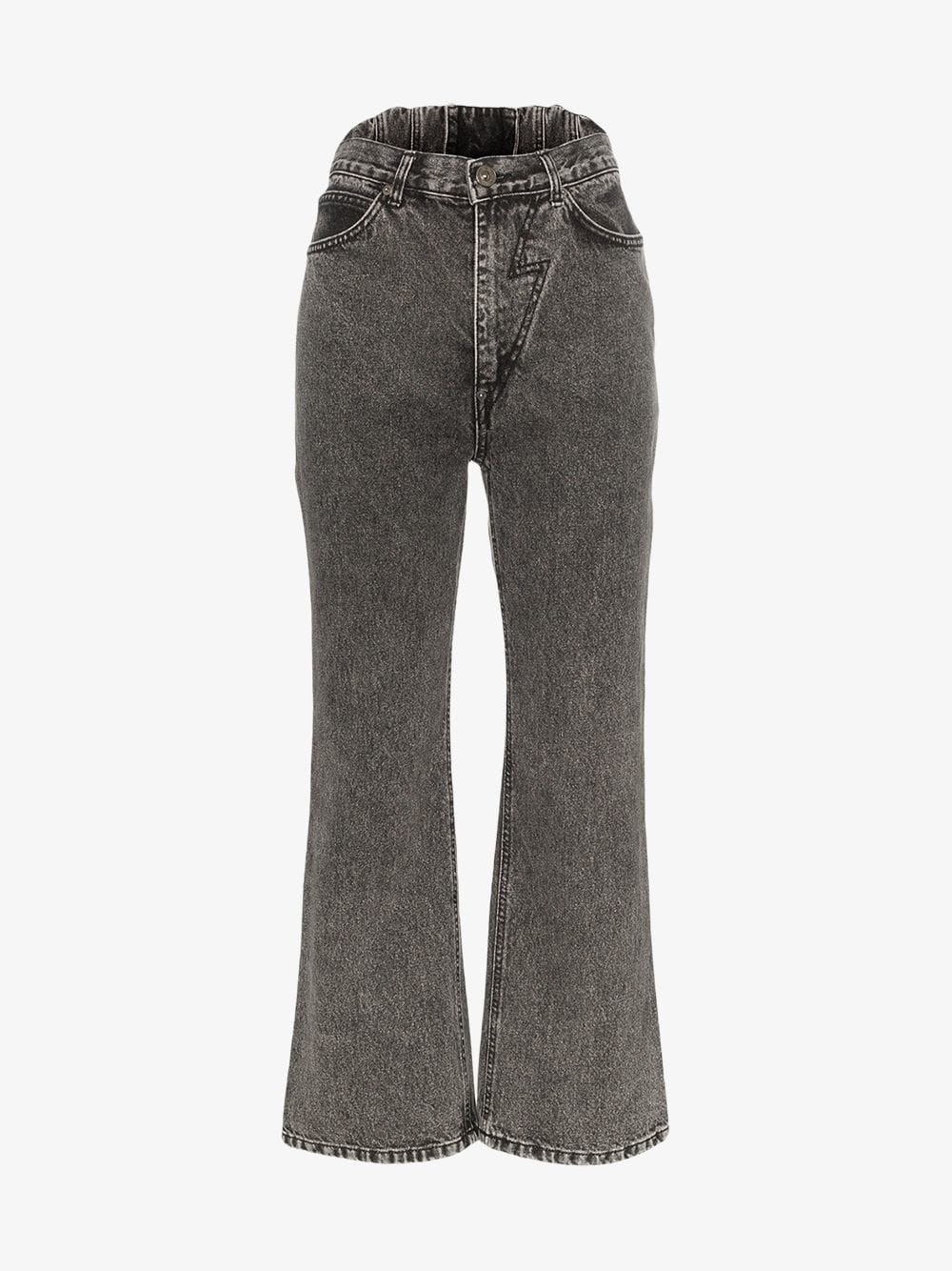 pushBUTTON Flared high-waisted jeans in black
