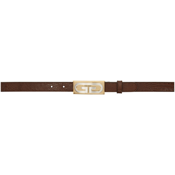 Gucci Brown Lizard Vintage Hardware Belt