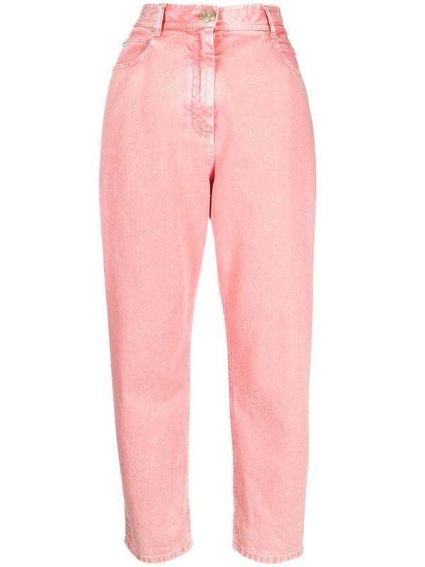 Balmain acid-wash boyfriend-fit jeans in pink