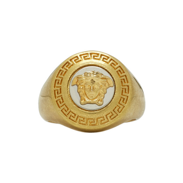 Versace Gold and Black Medusa Medallion Ring