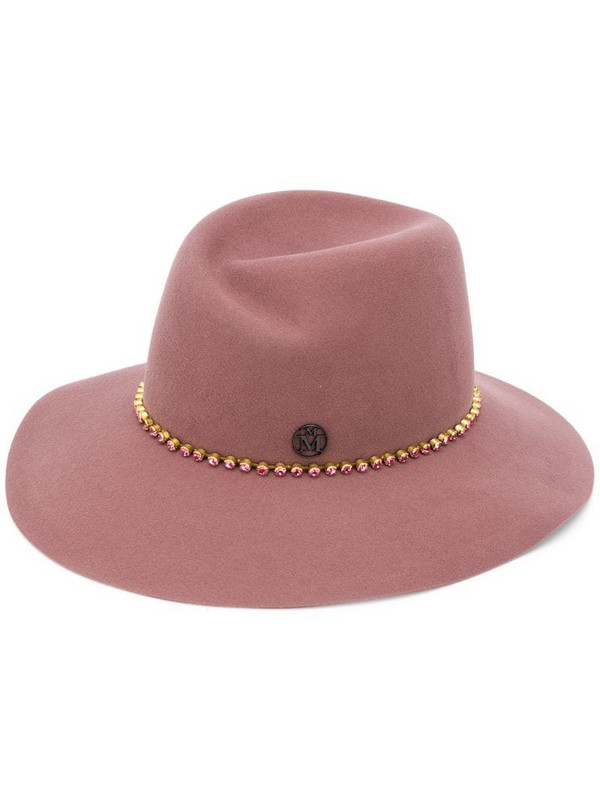 Maison Michel crystal embellished hat in red