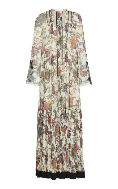 Costarellos Pleated Floral-Print Chiffon Maxi Dress Size: 42 in neutral
