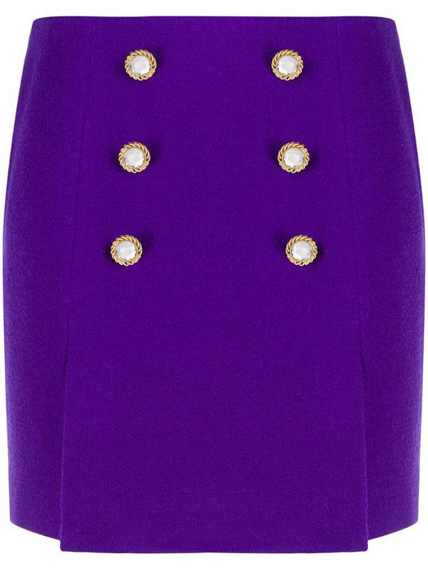 Alessandra Rich crystal button mini skirt in purple