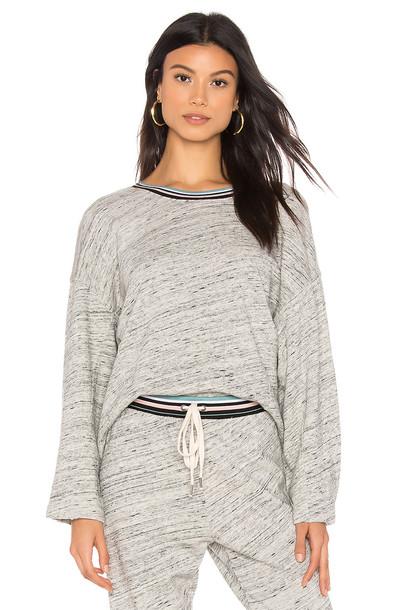Splendid Sweatshirt With Contrast Trim in gray