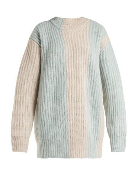 Calvin Klein 205w39nyc - Striped Mohair Blend Sweater - Womens - Light Blue