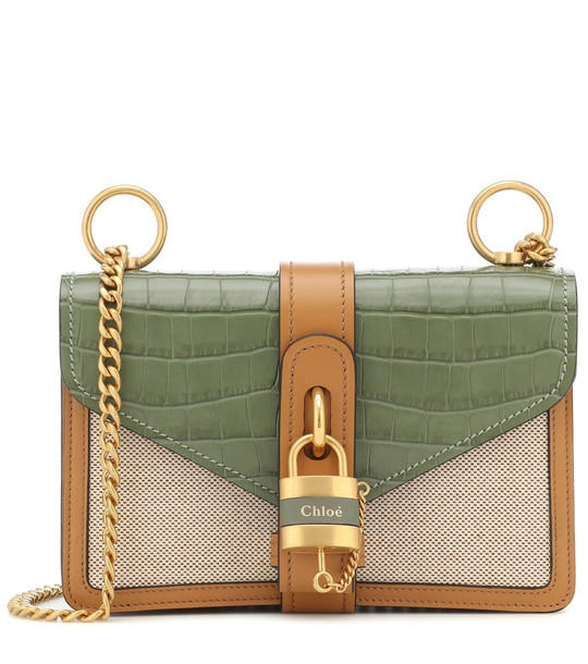 Chloé Aby Medium leather shoulder bag in green