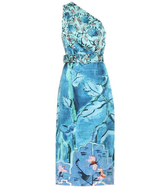 Peter Pilotto Printed silk dress in blue