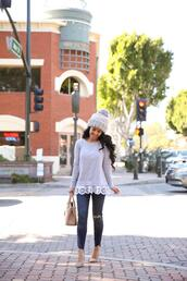 stylish petite,blogger,top,sweater,jeans,shoes,bag,hat