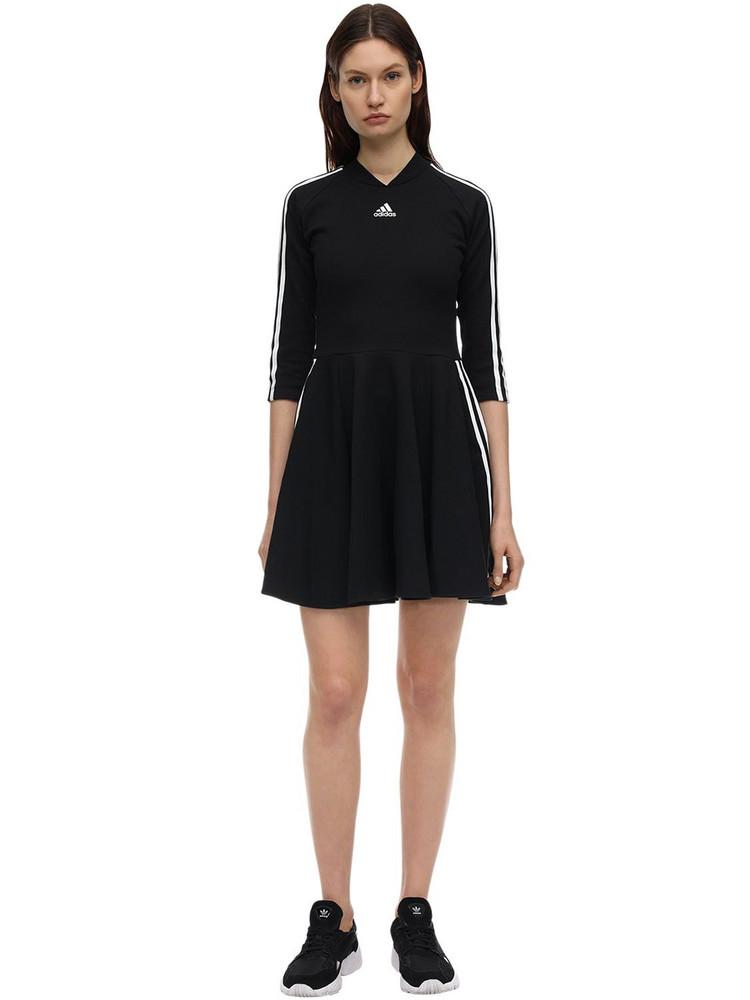 ADIDAS PERFORMANCE Three Stripes Cotton Blend Dress in black