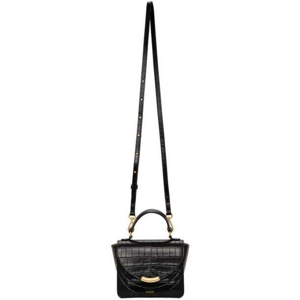 Wandler Black Croc Mini Luna Arch Bag