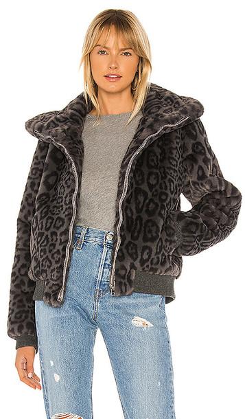 Generation Love Heidi Faux Fur Bomber in Gray