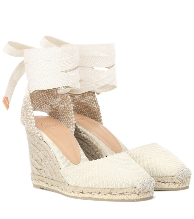Castañer Carina canvas wedge espadrilles in white