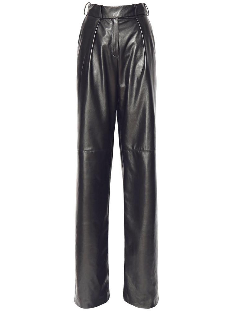 ALEXANDRE VAUTHIER Leather Wide Leg Pants in black