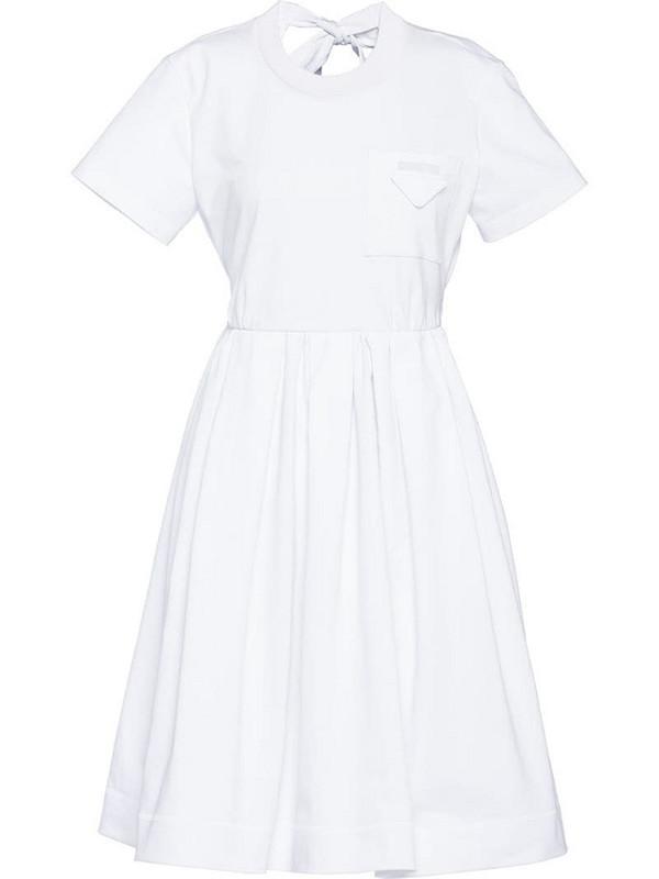 Prada logo-patch flared dress in white