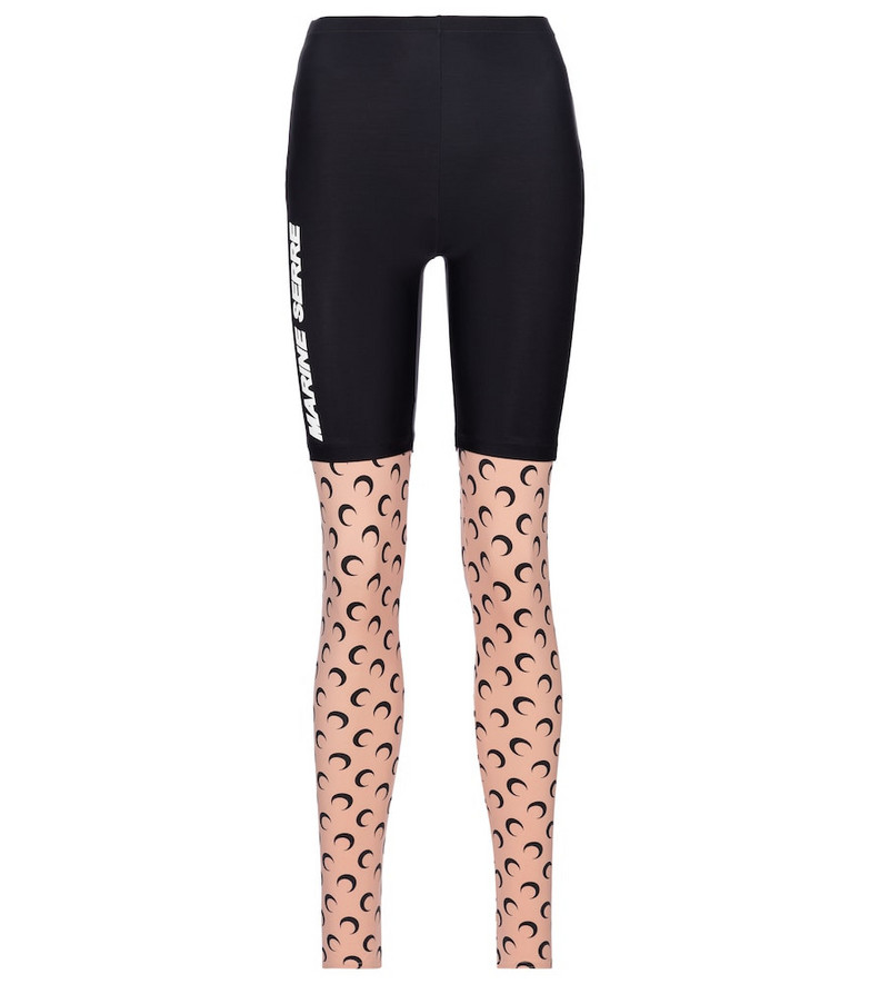 Marine Serre Exclusive to Mytheresa – Printed stretch-jersey leggings in beige