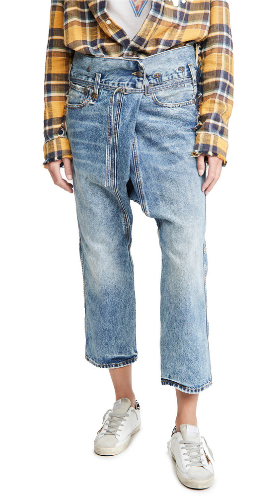 R13 Staley Cross Over Jeans in blue