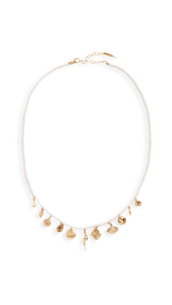 Chan Luu Pearl and Charm Necklace in white