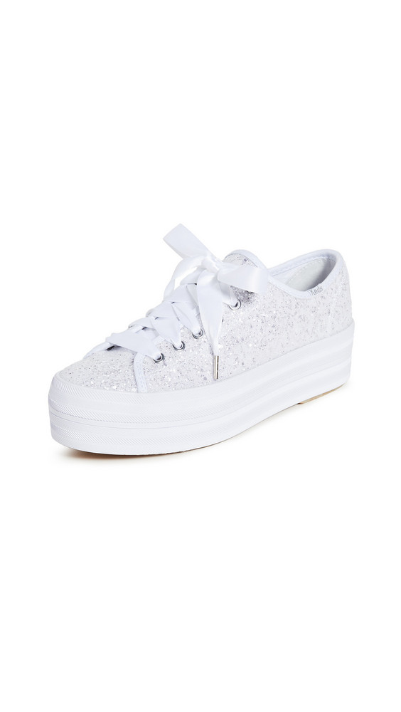 Keds x Kate Spade Triple Up Glitter Sneakers in white