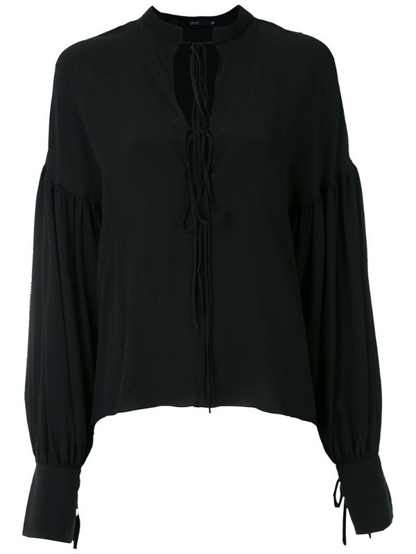 Eva silk puff sleeve blouse in black