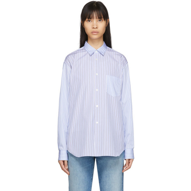 Comme des Garcons Shirt White and Blue Mixed Stripe Poplin Forever Shirt