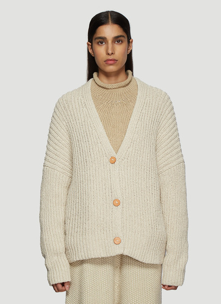 Lauren Manoogian Rib Boucle Cardigan in Beige size JPN - 2