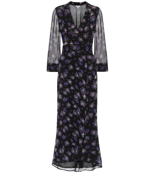 Ganni Floral georgette maxi wrap dress in black