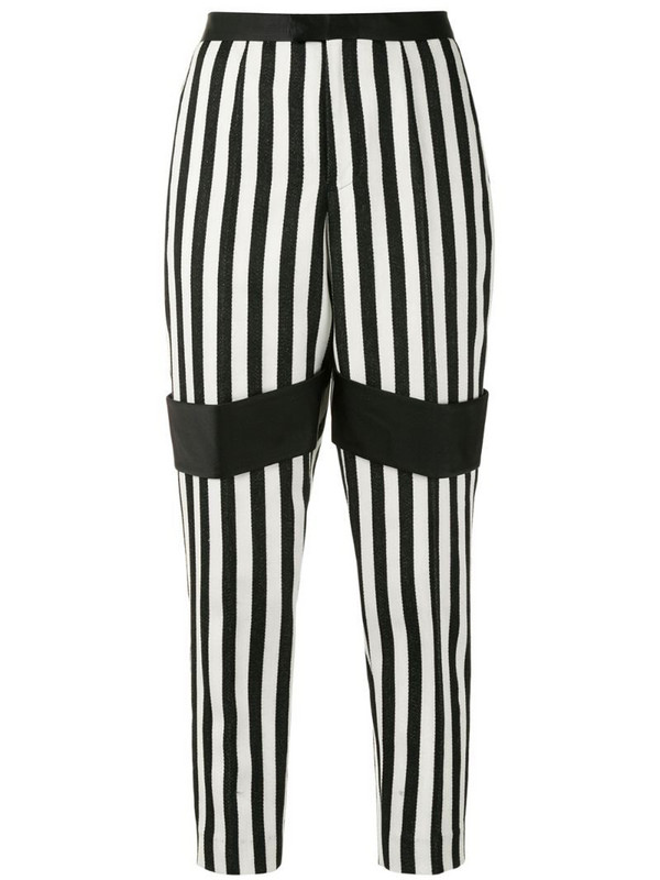 Undercover striped tapered-leg trousers in black