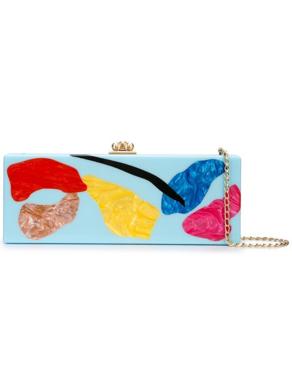 Edie Parker abstract print clutch in blue