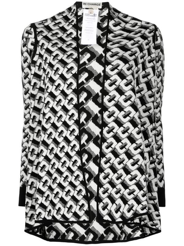 DVF Diane von Furstenberg Taya chain-link pattern cardigan in black