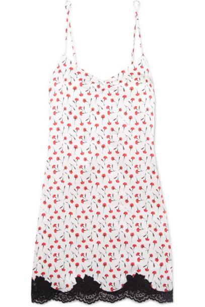 Fleur du Mal - James Lace-trimmed Floral-print Stretch-silk Chemise - White