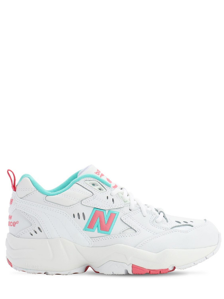 NEW BALANCE 608 Leather Sneakers in pink / white