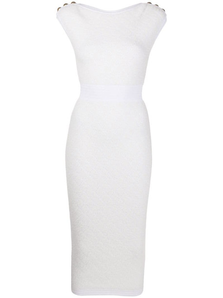 Balmain fine-knit fitted pencil dress in white