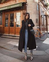 coat,black coat,long coat,double breasted,snake print,ankle boots,cropped jeans,high waisted jeans,black bag,turtleneck